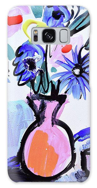 Blue Flowers And Coffee Cup Galaxy Case