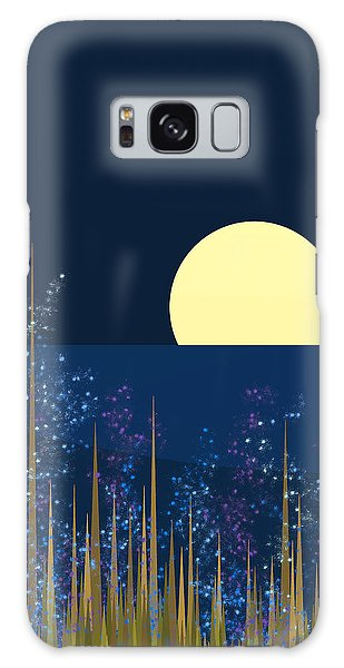 Blue Flowers Bloom At Night Galaxy Case