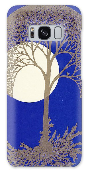 Blue Gold Moon Galaxy Case by Charles Cater