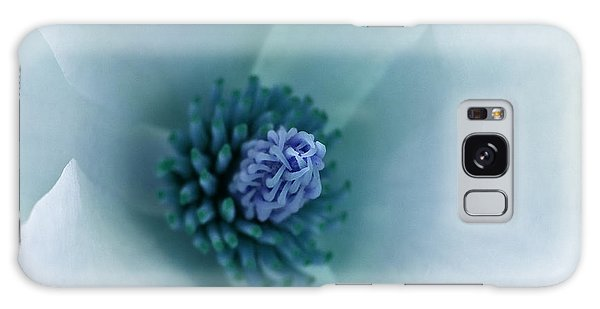 Abstract Blue Green White Flowers Macro Photography Art Work Galaxy Case by Artecco Fine Art Photography