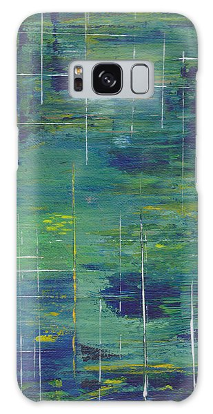 Blue Green Yellow Abstract  Galaxy Case by Patricia Cleasby