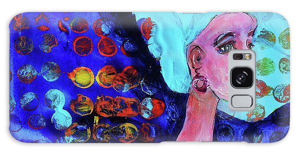 Blue Haired Girl On Windy Day Galaxy Case