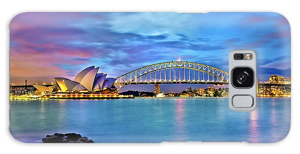 Sydney Skyline Galaxy Case - Blue Harbour by Az Jackson