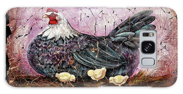 Blue Hen With Chicks Fresco Black Background Galaxy Case