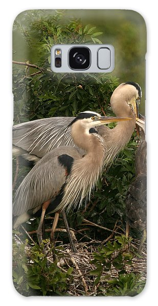 Blue Heron Family Galaxy Case by Shari Jardina