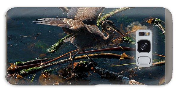 Blue Heron Fishing Galaxy Case