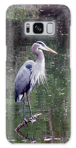 Blue Heron Fishing  Galaxy Case