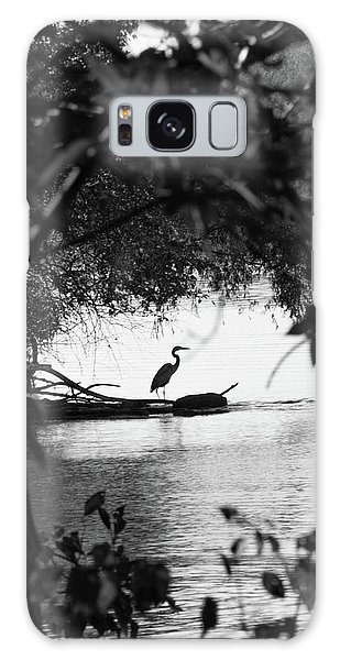 Blue Heron In Black And White. Galaxy Case