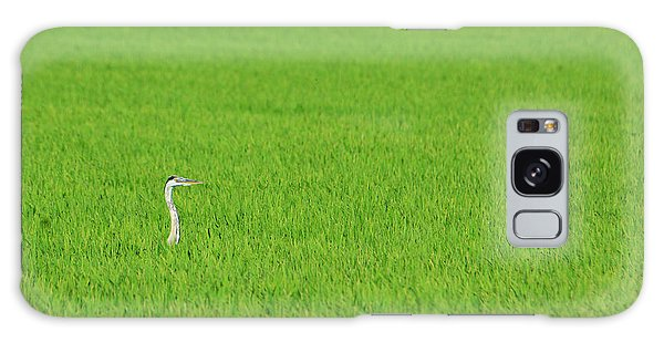 Blue Heron In Field Galaxy Case
