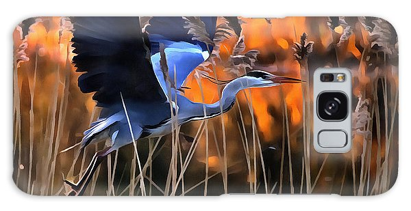 Blue Heron Galaxy Case by Jack Torcello