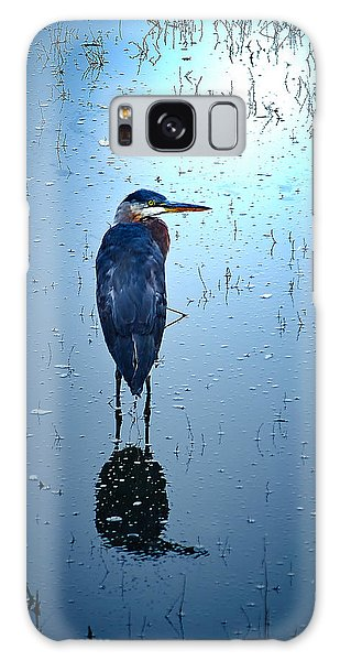 Blue Heron Galaxy Case by Loni Collins
