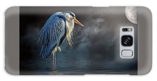 Blue Heron Moon Galaxy Case