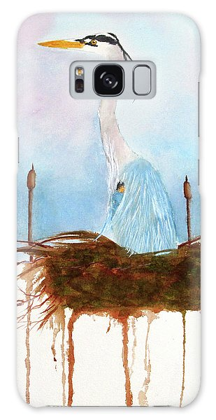 Galaxy Case featuring the painting Blue Heron Nesting by Rich Stedman
