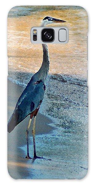 Blue Heron On The Beach Close Up Galaxy Case