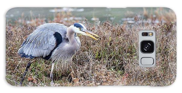 Blue Heron On The Hunt Galaxy Case by Eddie Yerkish