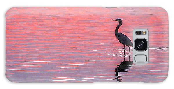 Blue Heron - Pink Water Galaxy Case