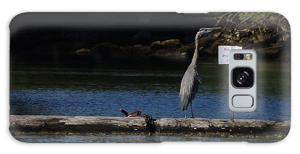 Blue Heron Private Property Galaxy Case