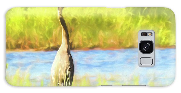 Blue Heron Standing Tall And Alert Galaxy Case