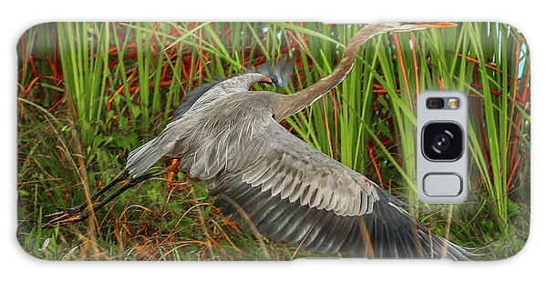 Blue Heron Take-off Galaxy Case