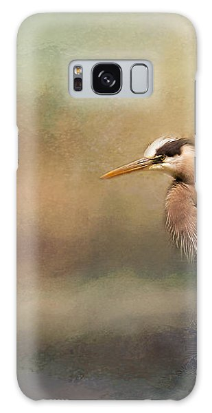 Blue Heron With Texture Galaxy Case by Eleanor Abramson