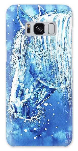 Galaxy Case featuring the painting Blue Horse by Zaira Dzhaubaeva