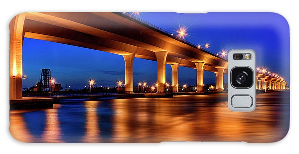 Blue Hour At Roosevelt Bridge In Stuart Florida  Galaxy Case by Justin Kelefas