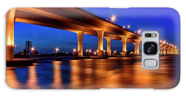 Blue Hour At Roosevelt Bridge In Stuart Florida  Galaxy Case by Justin Kelefas