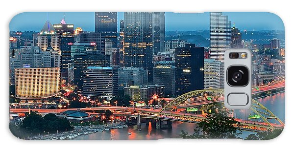 Blue Hour In Pittsburgh Galaxy Case by Frozen in Time Fine Art Photography