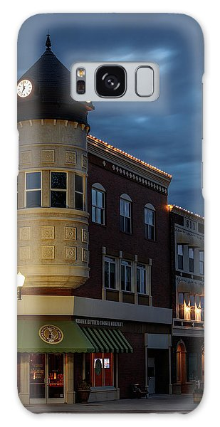 Blue Hour Over The Clock Tower Galaxy Case