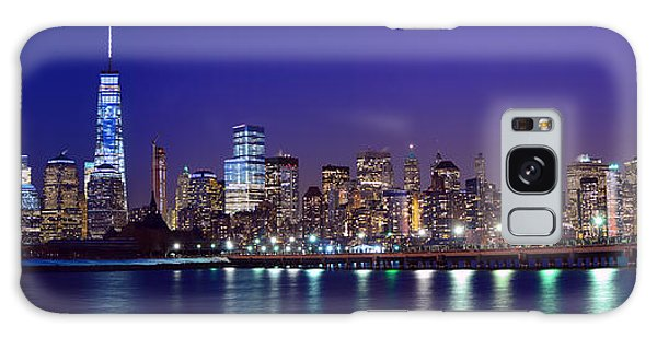 Blue Hour Panorama New York World Trade Center With Freedom Tower From Liberty State Park Galaxy Case