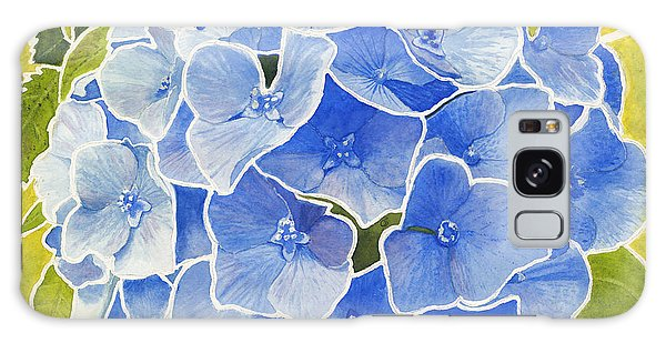 Blue Hydrangea Stained Glass Look Galaxy Case