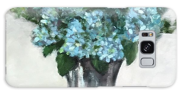 Blue Hydrangea's In Silver Vase Galaxy Case