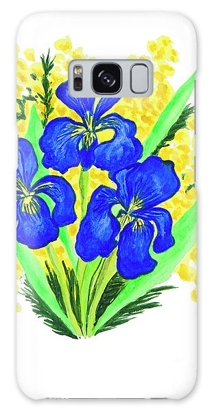 Blue Irises And Mimosa Galaxy Case
