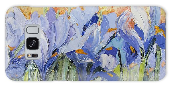Blue Irises Palette Knife Painting Galaxy Case