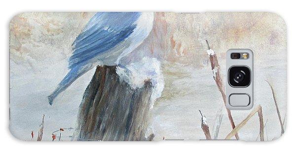 Blue Jay In Winter Galaxy Case by Roseann Gilmore