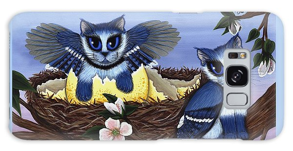 Galaxy Case featuring the painting Blue Jay Kittens by Carrie Hawks