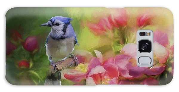 Blue Jay On A Blooming Tree Galaxy Case