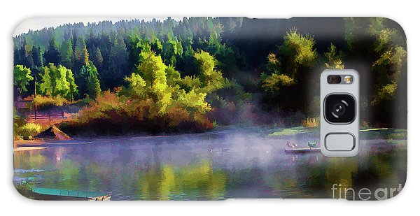 Blue Lake Spring Misty Geese  Galaxy Case