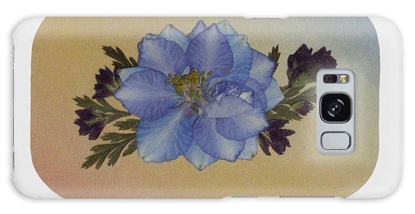 Blue Larkspur And Oregano Pressed Flower Arrangement Galaxy Case
