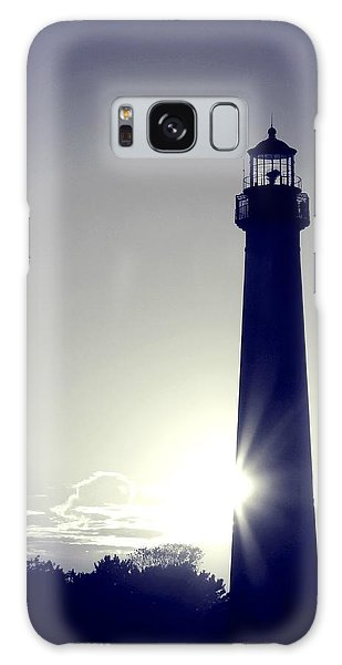 Blue Lighthouse Silhouette Galaxy Case