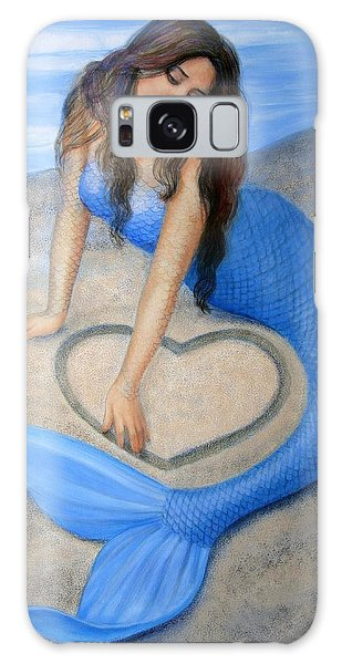 Blue Mermaid's Heart Galaxy Case by Sue Halstenberg