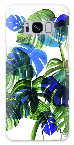 Blue Monstera Galaxy Case by Ana Martinez