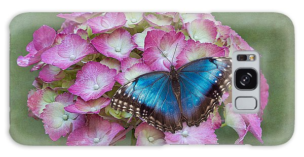 Blue Morpho Butterfly On Pink Hydrangea Galaxy Case