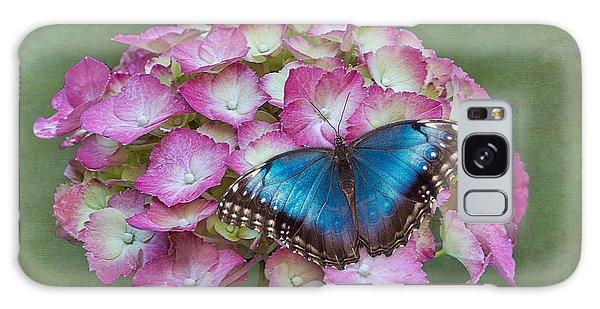 Blue Morpho Butterfly On Pink Hydrangea Galaxy Case