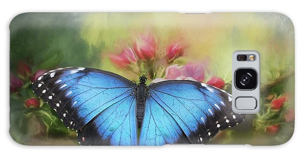 Blue Morpho On A Blossom Galaxy Case