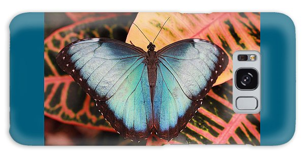 Blue Morpho On Orange Leaf Galaxy Case