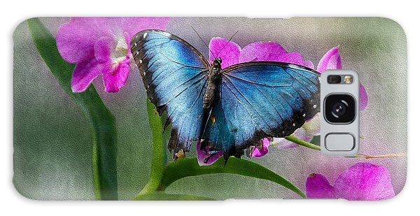 Blue Morpho With Orchids Galaxy Case