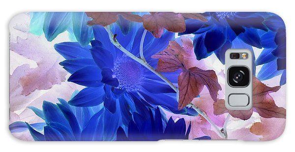 Blue Mums With Purple Ivy Galaxy Case