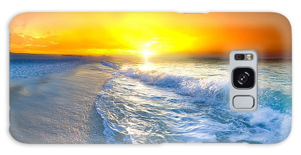 Blue Ocean Landscape Wave Photography Red Surise Galaxy Case