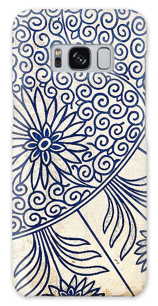 Blue Oriental Vintage Tile 01 Galaxy Case